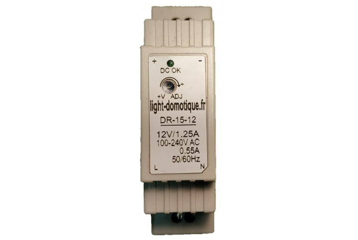 L&D Alimentation 12V DC (continu), 15W, 1.25A installation Rail Din DR-15-12