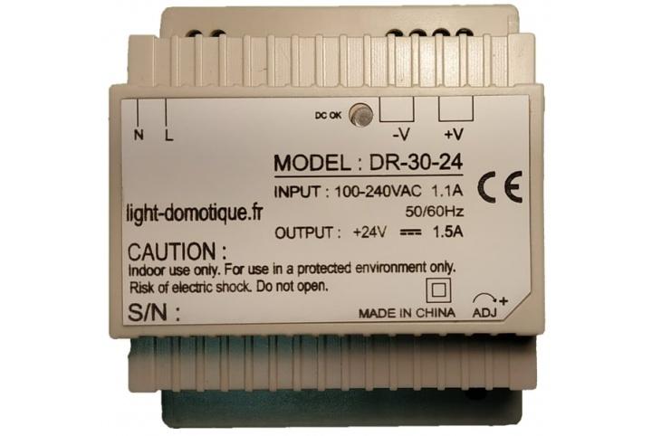 L&D Alimentation 24V DC 30W 1.5A installation rail Din DR-30-24