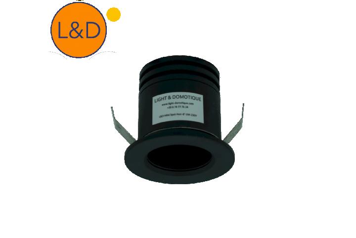 Mini spot encastré- noir - 8° - 3W - AC 230V