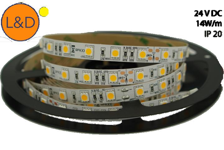 Ruban LED Blanc chaud IP20 14W/m