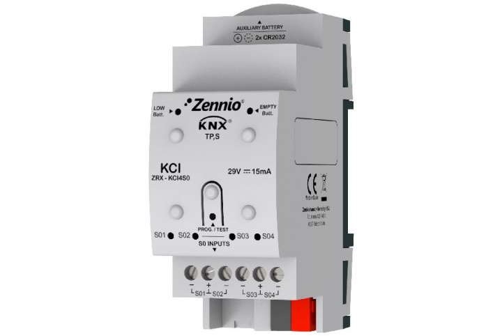 Zennio KCI 4 S0 Interface KNX pour compteurs de consommation ZRX-KCI4S0