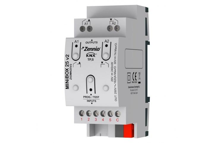 Zennio MINiBOX 25 V2 Actionneur 2 sorties 5 entrées KNX - ZIO-MN25V2