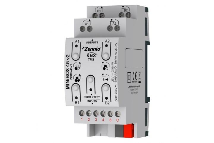 Zennio MINiBOX 45 V2 Actionneur 4 sorties 5 entrées KNX - ZIO-MN45V2