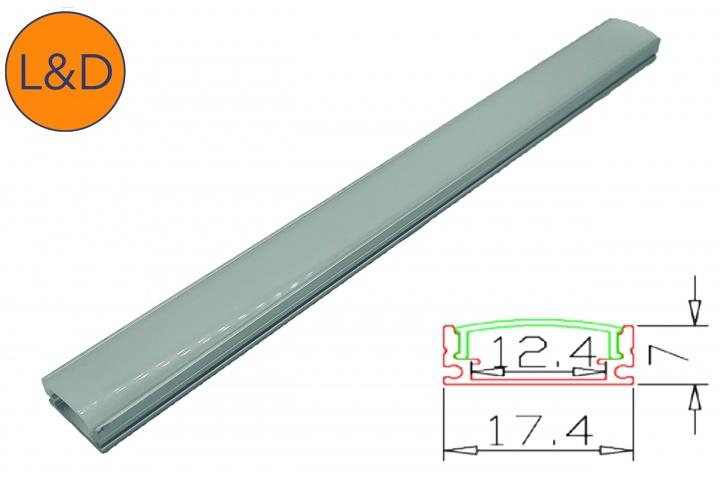 Profil aluminium finition Givrée pour ruban LED blanc IP20
