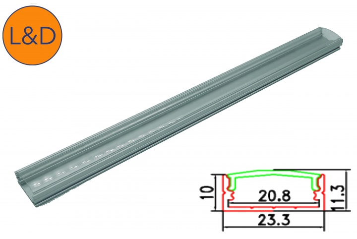 Profil aluminium large finition Transparente