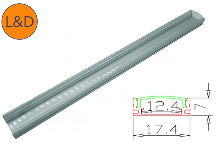 Profil aluminium finition Transparente pour ruban LED blanc IP20
